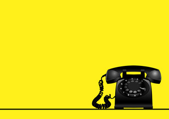 Yellow Background With Rotary Vintage Telephone