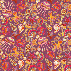 Seamless pattern with colorful sea creatures. Marine background jellyfish shells octopus starfish crab.