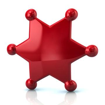 Red sheriff star badge
