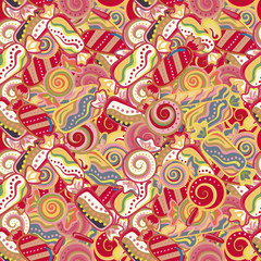 Seamless kawaii child pattern with candy cute doodles