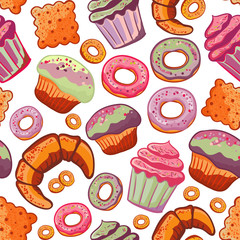 Vector food bakery seamless pattern with baked goods. Flour products from pastry shop. Illustration for print, web.