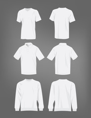 Sport white t-shirt, sweater and polo shirt isolated set vector