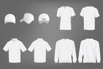 Sport white t-shirt, sweater, polo shirt and baseball cap isolated set vector