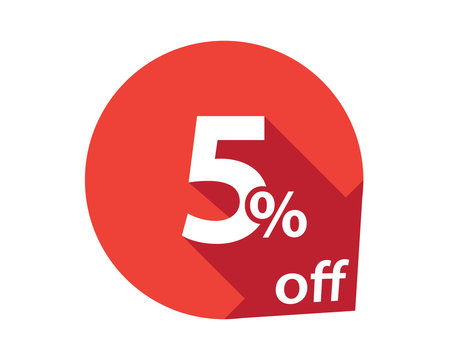 5 percent discount off red circle