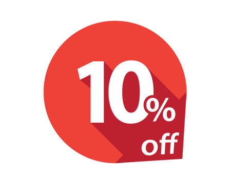 10 percent discount off red circle