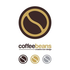 Coffee Logo - Coffee Beans, Circle Design Logo Vector