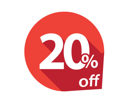 20 percent discount off red circle
