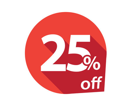25 percent discount off red circle