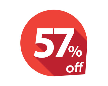 57 percent discount off red circle