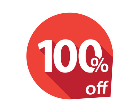 100 percent discount off red circle