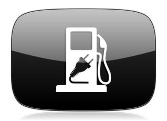 fuel black glossy web modern icon