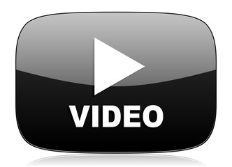 video black glossy web modern icon