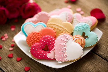 Different colored festive cookies hearts