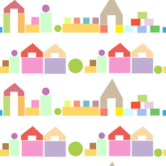 Colorful houses from wooden building blocks seamless pattern
