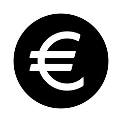European Euro round currency symbol flat icon for apps and websites