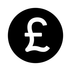 British Pound Sterling round currency symbol flat icon for apps and websites
