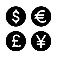 Dollar, Euro, Yen / Yuan and Pound round currency exchange flat icon for apps and websites