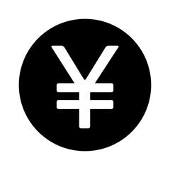 Japanese Yen round currency symbol flat icon for apps and websites
