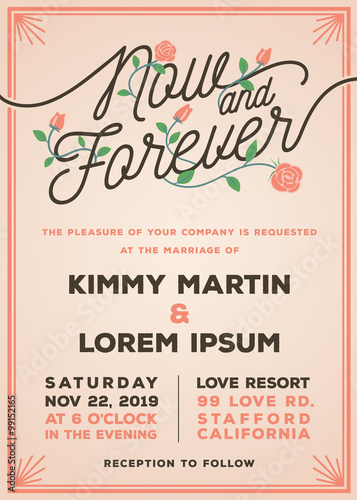 Now And Forever Wedding Invitation Template Old Rose Theme Wedding Invitation Typography Title