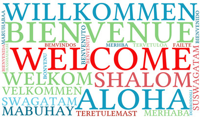 International Welcome Word Cloud. Each word used in this word cloud is another language's version of the word Welcome