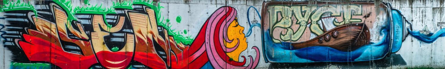 Graffiti on the walls a beautiful city