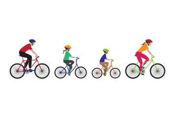 Father, mother and kids biking.