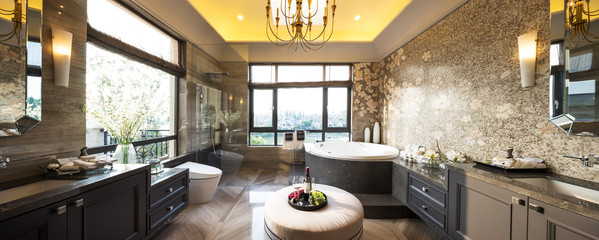 pano interior of modern bathroom