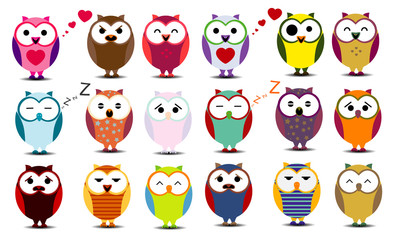 Big set of cartoon owls. EPS 10.
