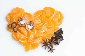 orange slices with nuts and chocolate