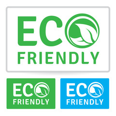 Eco environmentally friendly organic label design with leaf. Vector illustration.