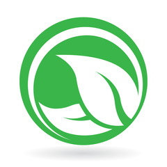 Icon design with abstract green leaf logo in circle. Vector illustration.