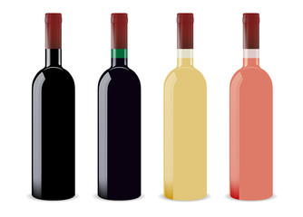 Set of four blank wine bottles for branding