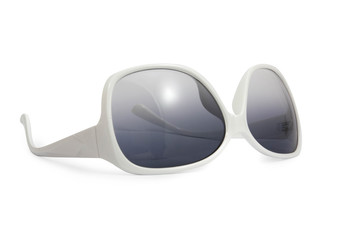 white sunglasses on white background