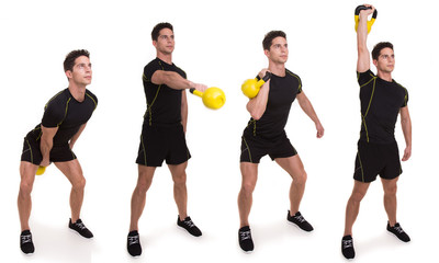 Kettlebell, Swinging Clean and Press, exercices
