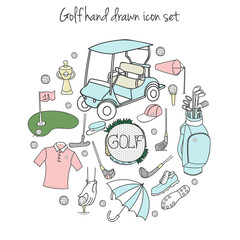 Collection of various stylized hand drawn Golf icons, Golf Equipment vector illustration set, golf clubs, golf course background, doodle elements, golf car, clubs, clothes and shoes, sketch