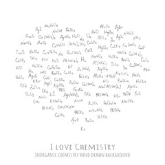 Background with handwritten chemical formulas, inorganic molecules - vector illustration, hand drawn chemistry vector pattern with formulas of different molecular combinations, I love Chemistry