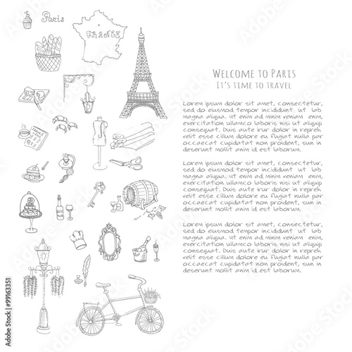 Set Of Hand Drawn French Icons Paris Sketch Illustration Doodle