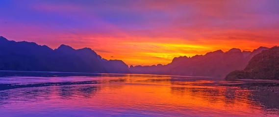 Scenic cloud sunset sky background