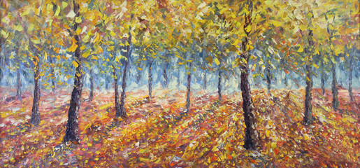 forest strewn with yellow leaves. Trees in Fall