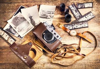 retro camera and old photos