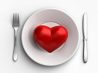 Heart in plate
