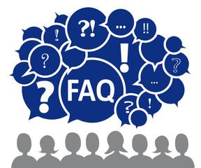 FAQ mit Silhouette, blau