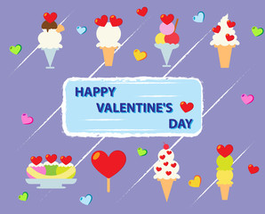 Ice cream set for Happy Valentines Day