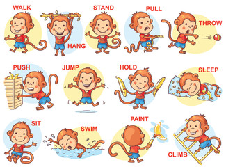Verbs of action in pictures, cute monkey character, colorful cartoon