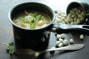 Bean soup in a small pot