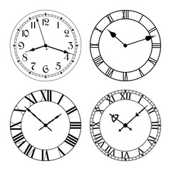 The set of different clock faces. Editable Clock, easily remove and replace hands and design. Stock vector.