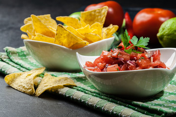Bowl of fresh salsa with tortilla chips