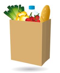 Sac en papier rempli de nourriture. Courses en ligne. Livraison à domicile. Commerce de proximité. II