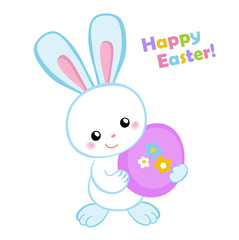 Happy Easter. Cute Easter bunny holding an egg.Vector illustration. Set Isolated separately on white background.