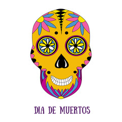 Day of The Dead sugar skull with floral ornament. Vector print. Dia de muertos - mexican holiday